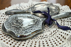 Flickr Friday #Silver (qorp38) Tags: antique mirrors silver ribbon doilly