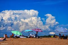 Scène de vie sur la plage avant l'orage (didier95) Tags: serignan scenedevie orage ciel nuage plage baigneurs vacancier parasol
