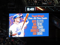 Citi Field, 09/29/18 (NYM v MIA, David Wright's final game): video board graphic - David Wright is the Mets' all-time leader in hits, runs batted in, runs, doubles, and extra base hits (IMG_3930a) (Gary Dunaier) Tags: baseball stadiums stadia ballparks mets newyorkmets flushing queens newyorkcity queenscounty queensboro queensborough citifield