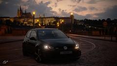 VW Golf with the Prague Castle (KominikM) Tags: volkswagen gti rails capital czechrepublic lamps stoneblock paving