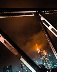 Eisener Steg (m_laRs_k) Tags: ffm frankfurt penf olympus 17mm prime hss 2dwf architexture orangeteal lightroomed chromecameraprofile classicchrome skyscrapers skyline bridge steel iron brücke eisenersteg 54 sliderssunday mlarsk
