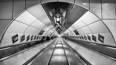 Vanishing Point (Joseph Pearson Images) Tags: underground subway metro tube blackandwhite mono bw escalator steps stairs vanishingpoint londonbridge