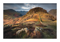 Langdale Light - in explore (Dave Fieldhouse Photography) Tags: langdale langdalevalley bowfell sunrise winter pikes sidepike rocks drystonewall wall shadows mountains cumbria cumbrianmountains lakedistrict lake lakes lakeland wideangle fuji fujixt2 fujifilm morning dawn landscape uk england grass heather clouds