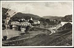 Postkort fra Agder (Avtrykket) Tags: bolighus bro brokar elv hus jernbane jernbanebro postkort vassdrag froland austagder norway nor