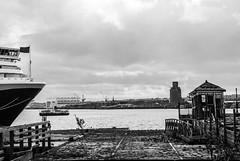Queen Elizabeth, Cunard Liner, Liverpool at Princes Dock 8.9.11 (bobbex) Tags: ship boat liverpool merseyside rivermersey ferryacrossthemersey bw blackandwhite blackwhite monochrome mono water cruiseship cruiseliner cruiseliners cunard queenelizabeth decay dereliction unescoworldheritagesite unesco docks dockland ramshackle