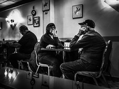 Lunch With Dad. Windsor, ON. (Paul Thibodeau) Tags: photooftheday windsor iphone8plus iphoneography streetphotography blackandwhite monochrome johnsonfamilyrestaurant facesincoffeeshops father daughter lunch