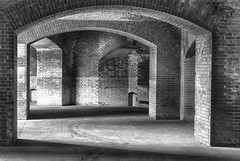 20140615_fort_point_arches_001 (petamini_pix) Tags: fortpoint sanfrancisco arches hdr brick blackandwhite bw monochrome grayscale california