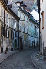 Cobblestone street in Ljubljana (ivanpilipovic) Tags: cobblestone street narrow buildings city ljubljana slovenia canon 1100d