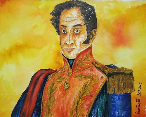 Simón Bolívar Acuarela