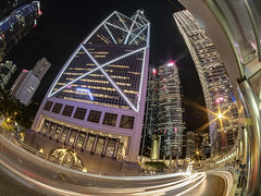 urban chaos (Wizard CG) Tags: lighttrails hong kong cityscapes hdr street house hongkong building samyang 75 mm epl7 central hkfisheye nightview night garden road hk bank china tower architecture longexposure olympus