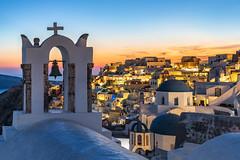 The Sun Awaits (JH Images.co.uk) Tags: santorini sunset sunrise sun colour island cross houses cliff greece greek dome religion church hdr dri bell sea village oia town