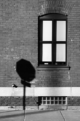 Stop Sign (DJ Wolfman) Tags: blackandwhite bw stop sign sidewalk shadow grandrapids grandrapidsmi window bricks wall sunlight olympus olympusomd em1markii micro43 michigan january