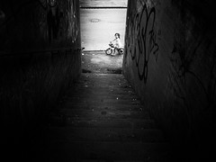 first bike ride (Sandy...J) Tags: urban noir blackwhite bw light darkness street streetphotography sw schwarzweis strasenfotografie city germany monochrom bike olympus contrast wall photography