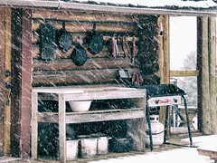 Outdoor Kitchen (by Deborah K Photography) Tags: trapping dustyroadphotos education offgrid rurallife canadianlife northernlife wildernesslife primitiveskills ruralliving ruralphotography logcabin offgridlife disconnect offthegrid simpleliving canada canons5 storm simplicity cabin northtrappingandbushcraft castiron snow ruralways simplelife dustyroadpics thenorth winter nopower canadian cabinlife countrylife