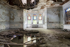 Hudson River State Hospital (Explore) (Jonnie Lynn Lace) Tags: abandoned abandonedamerica newyork ny abandonedny decay decayed decaying chasinglight light derelict ruins modernruins peelingpaint paintchips collapse hudsonvalley yellow window windows old nikkor america flickr november indoor indoors interior kirkbride abandonedhospital hospital hrsh hudsonriverstatehospital urbex architecture nikon d750 digital institution mental insane asylum historic time memories red blue stainedglass wide