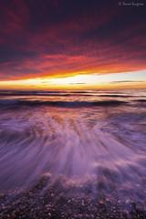 Elements. (dasanes77) Tags: canoneos6d canonef1635mmf4lisusm tripod landscape seascape cloudscape clouds colors red orange yellow sunrise sun waves water ocean sea shoreline reflections shadows dynamic
