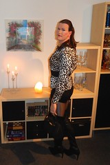Meow (Rikky_Satin) Tags: silk satin animal print blouse hotpants overknee boots highheels pantyhose crossdresser transvestite tgirl tgurl sissy