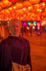 Happy New Year! (Robert Borden) Tags: louise woman women red color colormonochrome losangeles la california socal night lights laarboretum fuji fujifilmxt2 50mm primelens portrait portraitphotography happynewyear 2019