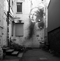 Yep, it's a Banksy (Tim Breeze) Tags: mamiya mamiyac330 twinlensreflex mediumformat squareformat 6x6 film analogue homedeveloped kodak trix xtol bristol uk urban blackandwhite bw monochrome graffiti banksy spikeisland alley girlwiththepiercedeardrum