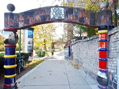 Hundertwasser Arch (mikecogh) Tags: vienna hundertwasser arch footpath pavement pillars colourful colorful publicart