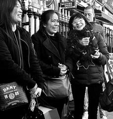 Good for the Soul (Owen J Fitzpatrick) Tags: ojf people photography nikon fitzpatrick owen pretty pavement chasing d3100 ireland editorial use only ojfitzpatrick eire dublin republic city tamron candid joe candidphotography candidphoto unposed natural attractive beauty beautiful woman female lady j face along photoshoot street 2018 happy happiness laughter laugh fun funny joy joyfull asian glasses spectacles brunette railing western union dkny 1989 handbag bag oriental coat bus stop hair ladies irish asia