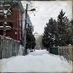 Je reviendrai fin avril avec le printemps... (woltarise) Tags: hipstamatic iphone7 bâtiment montréal neige rosemont ruelle