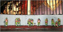 "Employés communaux de la Ville de Bruxelles, Jaune, Exposition d'art urbain ""Strokar Inside"", chaussée de Waterloo, Bruxelles, Belgium (claude lina) Tags: claudelina belgium belgique belgië bruxelles brussels exposition art oeuvre arturbain streetart strockarinside artcontemporain"