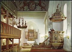 postkort (Avtrykket) Tags: alter altertavle apside apsis kirkebenk kirkeskip middelalderkirke midtgang postkort votivskip grimstad austagder norway nor
