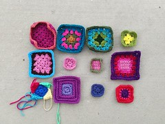 Progress on the twelve crochet remnants undergoing rehab (crochetbug13) Tags: crochet crocheted crocheting crochetremnants crochetsquares grannysquares crochetblanket crochetafghan