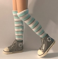 """Mint, White and Silver Stripes...Tall Socks For Blythe... • <a style=""""font-size:0.8em;"""" href=""""http://www.flickr.com/photos/34492931@N07/31785987007/"""" target=""""_blank"""">View on Flickr</a>"""