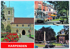 Harpenden in the 1960's (pepandtim) Tags: postcard old early nostalgia nostalgic war memorial car harpenden 1960s dennis photocolour sons scarborough all british production parish church high street green hertfordshire straw weaving air raid shelter 45har54 bench