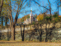 Harpers Ferry Stone Fence (Shannonsong) Tags: harpersferry harpersferrynhp wv wildandwonderfulwestvirginia shadows trees autumn fall church park johnbrown