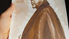 My watercolor portrait of René Magritte (2008) ------Mon portrait à l'aquarelle de René Magritte (2008)#art #magritte #watercolor #originalart #originaldrawing #artwork #artstudy #aquarelle #avendre #artforsale #ecoline #drawing #artiste #artist #sepia #p (Ben Heine) Tags: originaldrawing art avendre artist originalart artiste artwork magritte portrait benheinart creative ecoline sepia watercolor artstudy painting coolandaffordableoriginalsforsale design drawing renemagritte artforsale sketch aquarelle