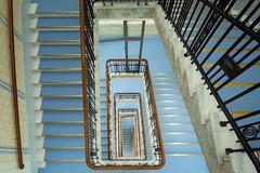 Babyblau - babyblue (Elbmaedchen) Tags: staircase stairwell stufen stairs treppenhaus treppe escaliers escaleras roundandround upanddownstairs interior architektur architecture hamburg bieberhaus blau blue bleu ohnsorgtheater