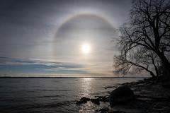 Sun Halo (Dan Fleury Photos) Tags: amhertview rainbow sky sun halo 22degree sunhalo circle ice crystals refraction amherstview amherstisland turbines wind electricity lake onatario channel canon sony cans2s canada