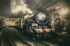 Pickering Station (brian_stoddart) Tags: trains transport travel railways station steam atmospheric tones tint people nymr old vintage composite