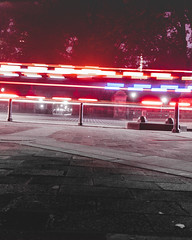 Ambulance through Central Park (whosced) Tags: new york nyc long exposure light trails oneplus mobile neon centralpark central park red blue street urban city