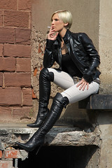 Tabea 34 (The Booted Cat) Tags: sexy blonde hair model girl smoking cigarette leather jacket boots overkneeboots belt