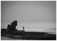 finding peace (kurtwolf303) Tags: monochrome sw bw sea ocean fisherman coast angler küste kurtwolf303 nikond5500 horizon horizont silhouette gegenlichtaufnahme meer dslr
