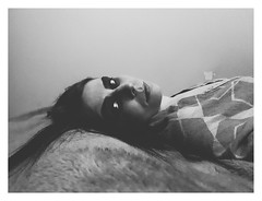 Dreaming of you (haidem3) Tags: selfportrait girl people bed looking bw blackwhite emotive gothic gothgirl goth femaleportrait autoportrait eyes