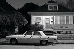 Valiant (Curtis Gregory Perry) Tags: portland oregon plymouth valiant car automobile house classic black white bw monochrome nikon d810 automóvil coche carro vehículo مركبة veículo fahrzeug automobil