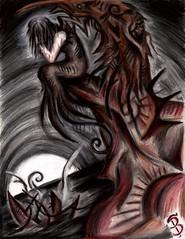 Moonrise and Memories (Skyler Brown Art) Tags: angel angst art artwork coloredpencil dark depressing drawing emotional fantasy fear female girl gothic macabre moon ocean paper people sad steampunk surreal water woman