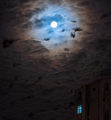 Dramatic Moon (free3yourmind) Tags: dramaic moon clouds cloudy night nightscape moonlight building house window open light batumi georgia lonely dark