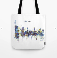 New York skyline Tote Bag (marianv2014) Tags: newyork manhattan statueofliberty watercolor watercolour skyline skylineart skylinepainting skylineposter aquarelle blue splatters splashes watercolorpainting watercolorskyline cityart citysymbols modernpainting americancities artgifts affordableart illustration artwork art colorful beautiful contemporary america decor landmark tote bags