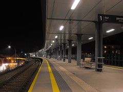 DSCF2475 (agnieszka.lublin) Tags: city platform night railway station lights rails perspective architecture