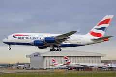 British Airways - Airbus A380-841 G-XLEH @ London Heathrow (Shaun Grist) Tags: gxleh ba britishairways speedbird airbus a380 shaungrist lhr egll london londonheathrow heathrow airport aircraft aviation aeroplanes airline avgeek landing 27l