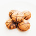 Close up of honey cookies with chocolate on white background