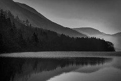 Fantasia (markrd5) Tags: lakedistrict crummockwater sunrise mist atmosphere layers mono bw monochrome nikon sitbackandchill waterrocksandtres mood bequietforonce