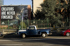Portland (Curtis Gregory Perry) Tags: portland oregon blue ford truck pickup vehicle old 1973 1974 adidas billboard advertisement creators never finished pdx downtown northwest nikon d810 ad sign