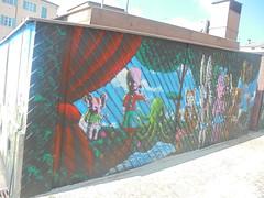 293 (en-ri) Tags: omino animals animali tendone curtains sipario cueo wall muro graffiti writing cielo sky moya